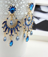 new hot 2014 Best-selling Bright Color Oil Acrylic Water Drop Golden Earrings ER-015875