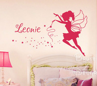 [B.Z.D] Free Shipping DIY Flower Fairy Personalized Name Art Decals Home Decor Vinyl Wall Stickers for Children Bedroom 76x87cm