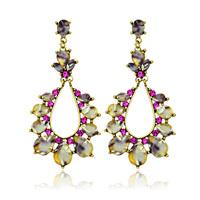 Free shipping Fashion Jewelry charms women long drop ceramics earrings unique rhinestone earrings