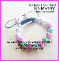 10pcs/lot Newest Green and pink pave ball AKA charm bracelet ,AKA shamballa macrame braiding bracelet