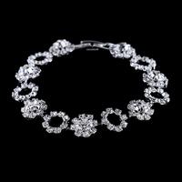 Top quality spring new 2014 white crystal bracelet,round fashion silver plated charm bracelet, chain flower bracelet for women