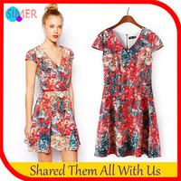 2014 New Fashion Women's Print Red Flower Casual Mini Dress Back Zip Short Sleeve V-Neck Novelty Dresses