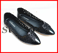 2014 new fashion pointed toe vintage Student embroidery hollow flat heel Women flats comfortable casual ladies women shoes 40