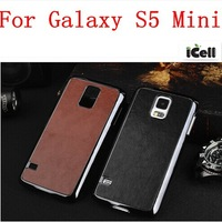 Luxury Chrome Retro PU Leather Plating Hard Case For Samsung Galaxy S5 Mini ,MOQ:1PCS free shipping