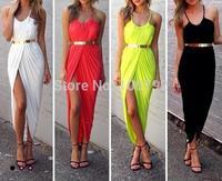 Bandage Bodycon Celebrity Dress Summer Fashion 2014 Moss Slouch Dress Beach Slit  Maxi Long Dress Without Belt
