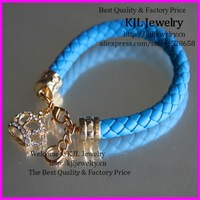 free ship! 10pcs Newest ! Fashion Pu Leather Bracelet rhinestone crown Charms Leather Bracelet Wristband Bangle unisex Bracelets