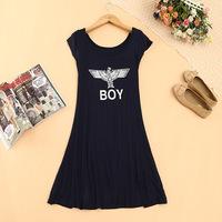 2014 Plus Size Women Clothes O-neck Short Sleeve London Boy Print Modal Dress Women Brand Dress Summer Big Pendulum Dress C