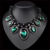 Free Shipping New 2014 High Quality Jewlery Popular Hand-woven Rope Charm Necklace Rhinestone Green/Blue Gem Jewelry Women N4624