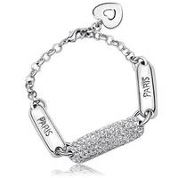 genuine gold platinum Austrian crystal elegant anti-fatigue  heart bracelet letter paris charm chain bracelet for women