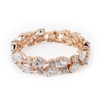 Mona Lisa 2014 shining high quality AAA water drop zirconia gold crystal bracelets for women