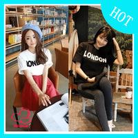 2014 spring and summer 100% cotton boy london letter loose short-sleeve shirt basic t-shirt