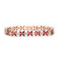 Lucky four leaf clover garnet red bracelet, 2014 shining transparent AAA  zirconia transparent crystal flower bracelet