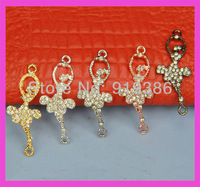 30pcs Free shipping fashion five color ballerina charm dance girl with crystal rhinestone charm connector