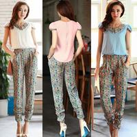 New 2014 spring ans summer pants with zipper jumpsuit chiffon jumpsuit plus size split set overalls for women X99