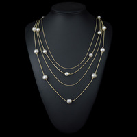 fashion multilayer white imitation pearl long necklace  gold plated women costume jewelry accessory