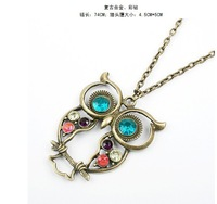 Fashion lovely vintage Colorful Cute OWL necklace !!--CRYSTAL SHOP