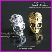Wholesale ! 100pcs Metal alloy Gold Silver Skull beads,Rose flower skull beads charm bracelet connector
