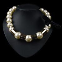 Luxury Big White Pearl Necklace Ribbon Bow Decorated Women Fashion Chunky Chocker Necklace Wholesale