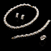 2014 Classic Full of Imitation Pearl Jewelry Sets Gold Plated Clear Crystal High Quality Earrings Bracelet Necklace