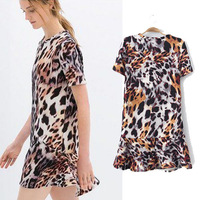 [B-400]  Free shipping flounced hem leopard print short-sleeved round neck leopard dress