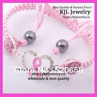 15pcs NEW style ! Crystal pave silver tone Pink Ribbon Bracelet,handmade macrame cord breast cancer awareness sign bracelet