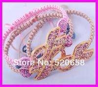 6pcs  NEW style! High quality breast cancer awareness Charm bracelet, Pink shamballa bead Ribbon bracelet