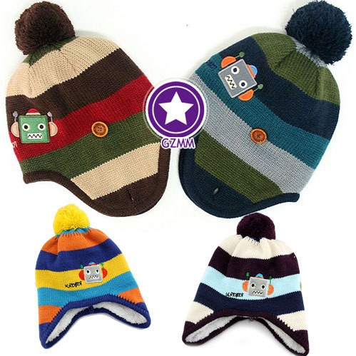 Free shipping hot sale baby hats and caps kids boy girl crochet beanie hats winter ear protector cap for children to keep warm(China (Mainland))