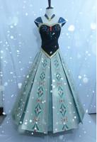 Frozen Princess Anna Dress Costume printed flower green color Cosplay Custom made Frozen Movie dress children adult Real Photos