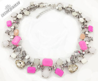 2014 New  Z brand fashion rhinestone antique silver plated choker chunky chain Necklaces & pendants statement jewelry women