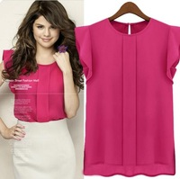 [R-25] Stunning price 2014 Fashion Womens summer  Chiffon Blouse OL Lady Round Collar Ruffles t shirt Tops