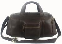 Free Ship Wholesale Retail Men Vintage Full Grain Real Leather Luggage Bag Duffle Travel Bag Genuine Leather Tote Bag Messenger