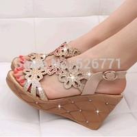 2014 sandals platform wedges female sandals rhinestone platform shoes plus size women's shoes