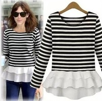 [R-37] Free shipping striped long-sleeved round neck dress patchwork  pure cotton dress Free shipping