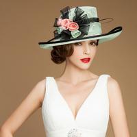 Luxury Elegant British diamond flower sinamay hat for women new ladies wedding church evening party hat chapeu fedora summer