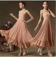 2014 New Fashion Summer Luxury Full Lace Spaghetti Strap Formal Expansion Bottom Ruffle Female Full Dress
