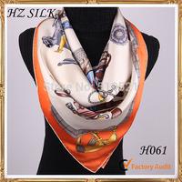 paris brand 100% pure silk orange horses men fashion scarves  apparel & accessories free shipping