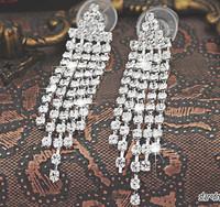 Bridal jewelry wedding accessories tassel earrings with rhinestones ear clip no pierced earrings 2014 new women jewelry 011