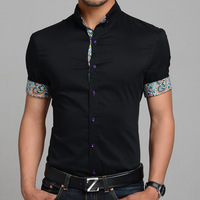 2014 new fashion mens solid color Casual Shirt slim fit shirt 3803