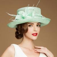 British aristocracy luxury Organza sinamay hats for women ladies wedding church hats sun wide brim hat female party aniversario