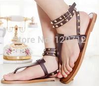 Women Rockstud Round head rivets flat heel shoes black leather Bracelet strap shoes with women's flat sandals size 35-40