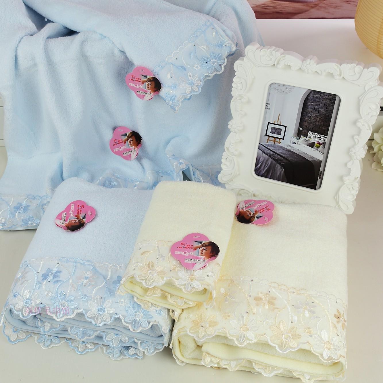 New arrival 100% cotton yarn diamond lace decoration 3piece set Towel set: bath towel 70*140cm+2pcs face towel 33*76cm(China (Mainland))