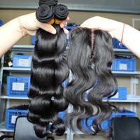 Grade 5A 1pc Silk Base lace closure with 3pcs hair bundles peruvian virgin human hair weave body wave 4pcs/Lot queen hair