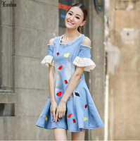 Lanluu 2014 New Season Summer Casual Embroidery Off Shoulder Denim Jeans A-line Dress for Women SQ305