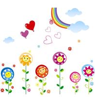 School classroom kindergarten children room is decorated cartoon stickers Rainbow sun tracery wall stickers