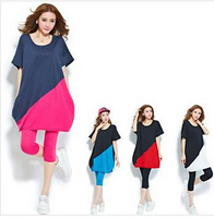 Summer Maternity Clothes Pregnant Women/ Maternity/ Women's Plus Size Loose Contrast Color T-shirt WSTT8