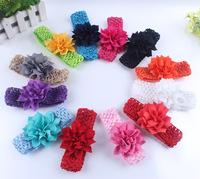 Free Shipping European American Children Chiffon Flower Elastic Headbands Baby Girls Hair Bands Children's Hairwear Jewelry Gift