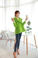 Europe, South Korea stations woolen coat jacket fruit green double mouth cheap wholesale