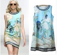 famous brands Retro print dress skirt vest skirts sleeveless vest women summer sexy new 2014 party dresses