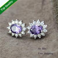 New boucles d'oreilles pour les femmes,Wholesale Women Accessories Earrings,Bijoux Crystal Purple Earrings,pendientes plata R751