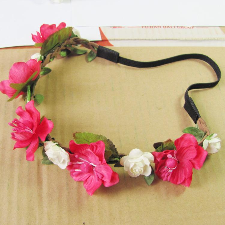 Wholesale 5pc bridesmaid bride cherry seaside vacation photography flower hair accessories swimwear beach dress ribbon headband(China (Mainland))